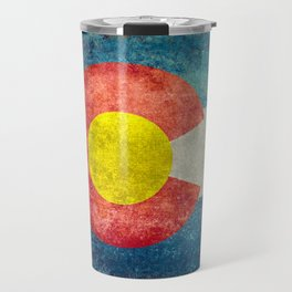 Colorado flag with Grungy Textures Travel Mug