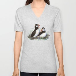 Watercolor Puffin Bird Couple Unisex V-Neck