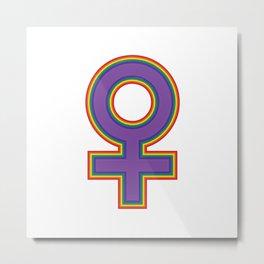 Female Symbol Fem Feminist Rainbow Metal Print