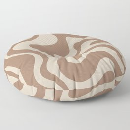 Liquid Swirl Contemporary Abstract Pattern in Chocolate Milk Brown and Beige Floor Pillow