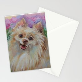 White Pomeranian in the rose garden Cute miniature spitz dog portrait Oil painting on canvas Stationery Cards