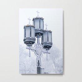 Street lamp in the winter snowy street Metal Print