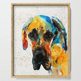 Great Dane Dog Art Portrait - Those Eyes - Sharon Cummings Serving Tray