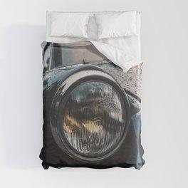 Close Up Of Car Headlight Duvet Cover