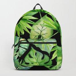 tropical leaves on black Backpack