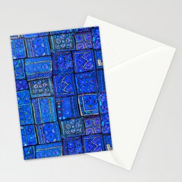 V2 Calm Blue Traditional Moroccan Cloth Texture. Stationery Cards