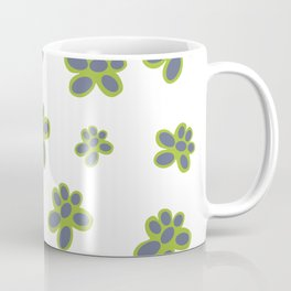 Simple Green and Mauve Flowered Pattern Coffee Mug