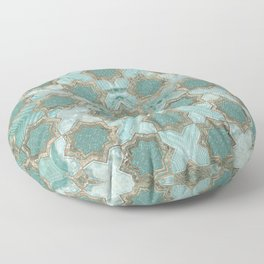 Oriental Tile pattern - Mint Agate and Gold Floor Pillow