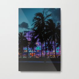 Miami By Night | Fine Art Travel Photography Metal Print
