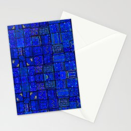 N99 - Calm Blue Traditional Moroccan Geometric Shapes.  Stationery Cards