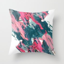 Sweet Tooth - a pretty abstract acrylic piece in pinks, blue, and green Throw Pillow