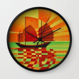 Junk on Sea of Green Cubist Abstract  Wall Clock