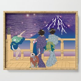 Hokusai People Seeing Mt. Fuji under the Stars Serving Tray