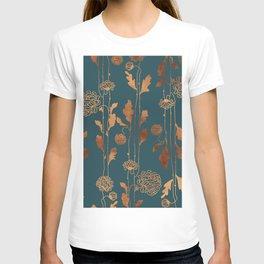 Art Deco Copper Flowers  T-Shirt