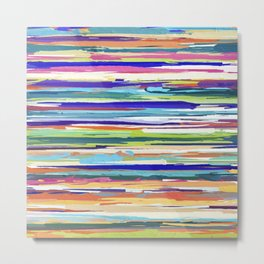 Abstract Multi-coloured Stripes Design 1648 Metal Print