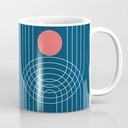 Mid Century Modern Geometric 52 (in Midnight Blue and Coral) Coffee Mug