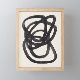 Mid Century Modern Minimalist Abstract Art Brush Strokes Black & White Ink Art Spiral Circles Framed Mini Art Print
