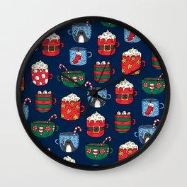 Christmas Mugs of Hot Cocoa on Blue Wall Clock