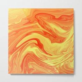 Orange Marble Cute Vibrant Design Metal Print