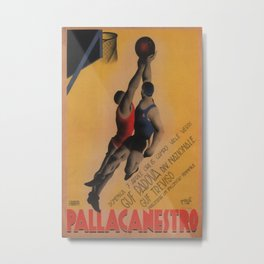 Pallacanestro Vintage Travel Poster Metal Print