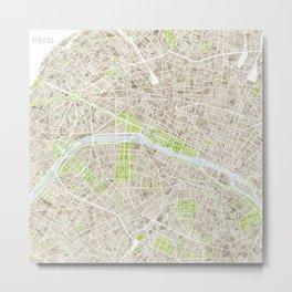 Paris SGB Watercolor Map Metal Print