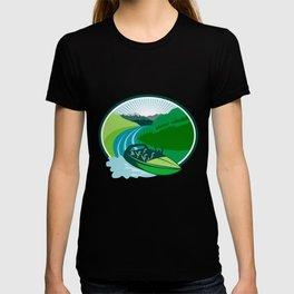 Jetboat River Canyon Mountain Oval Retro T-shirt