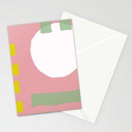 Mid-Century Modern Minimalist Geometric In Pink, Mint & Mustard Stationery Cards