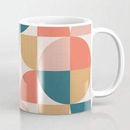 Mid Century Modern Geometric Pattern 436 Orange Teal Dusty Rose and Beige Coffee Mug