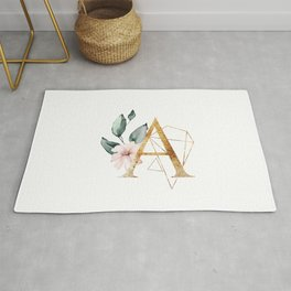 Golden ethereal floral monogram - A Rug