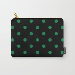 Black With Green Dots Polka Dots Carry-All Pouch