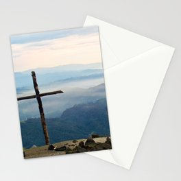 Rustic Mountaintop Cross at Sunrise Stationery Cards