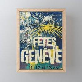 cartaz fetes de geneve 11 12 et 13 aout geneva Framed Mini Art Print