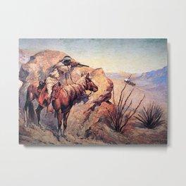 """Frederic Remington Western Art """"Apache Ambush"""" Metal Print"""