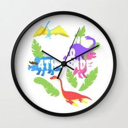 Roaring Into 4th Grade Fourth Grader Dinosaur School Tee  Wall Clock