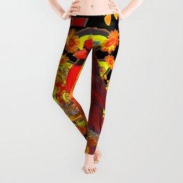 BUTTERFLIES  RED CARDINAL SUNFLOWERS BLACK ART Leggings