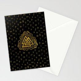 Gold Valknut Symbol on Runes Pattern Stationery Cards