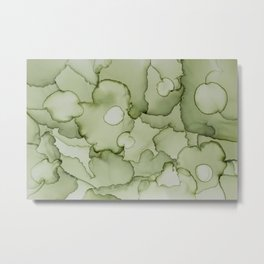 Green garden abstract hand painted alcohol ink texture Metal Print