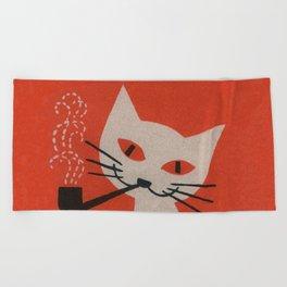 Retro White Cat Smoking a Pipe Beach Towel