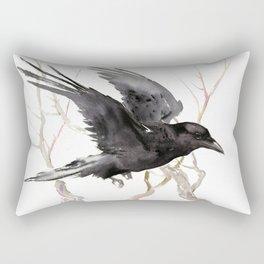 Flying Raven Art, raven crow tribal design Rectangular Pillow
