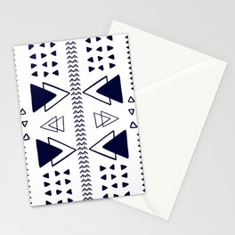 Navy and White Geometric Pattern Stationery Cards