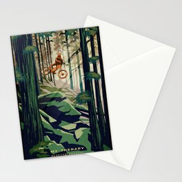 MY THERAPY MOUNTAIN BIKE POSTER Stationery Cards