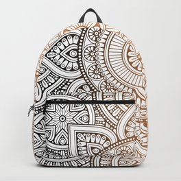 Gold Bronze Mandala Pattern Illustration Backpack