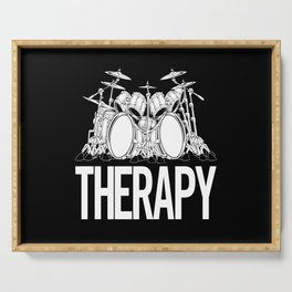 Drummers Therapy Drum Set Cartoon Illustration Serving Tray