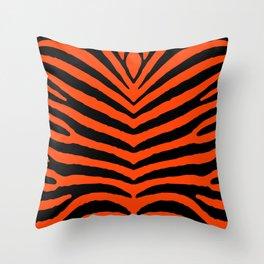 Orange Neon and Black Zebra Stripe Throw Pillow