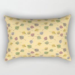 Colorado Aspen Tree Leaves Hand-painted Watercolors in Golden Autumn Shades on Butter Yellow Rectangular Pillow