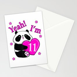 11th Gift Birthday,Cute PANDA & Yeah! I'm 11 with pink heart T-Shirt Stationery Cards