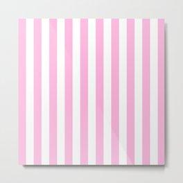 Vertical Stripes (Pink & White Pattern) Metal Print