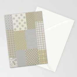 Modern Farmhouse Patchwork Quilt in Gray Marigold and Oatmeal Stationery Cards