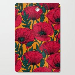 Red poppy garden    Cutting Board