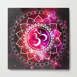 Ohm Mandala : Galaxy Mandala Red Fuchsia Pink Metal Print